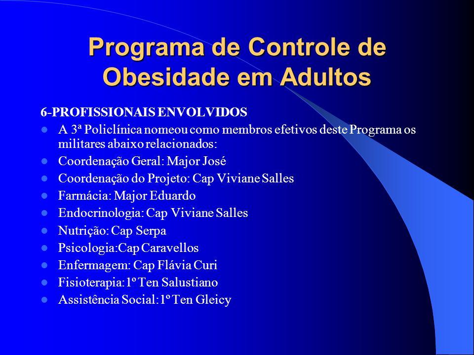 Programa de Controle de Obesidade em Adultos 6-PROFISSIONAIS ENVOLVIDOS A 3ª Policlínica nomeou como membros efetivos deste Programa os militares abai