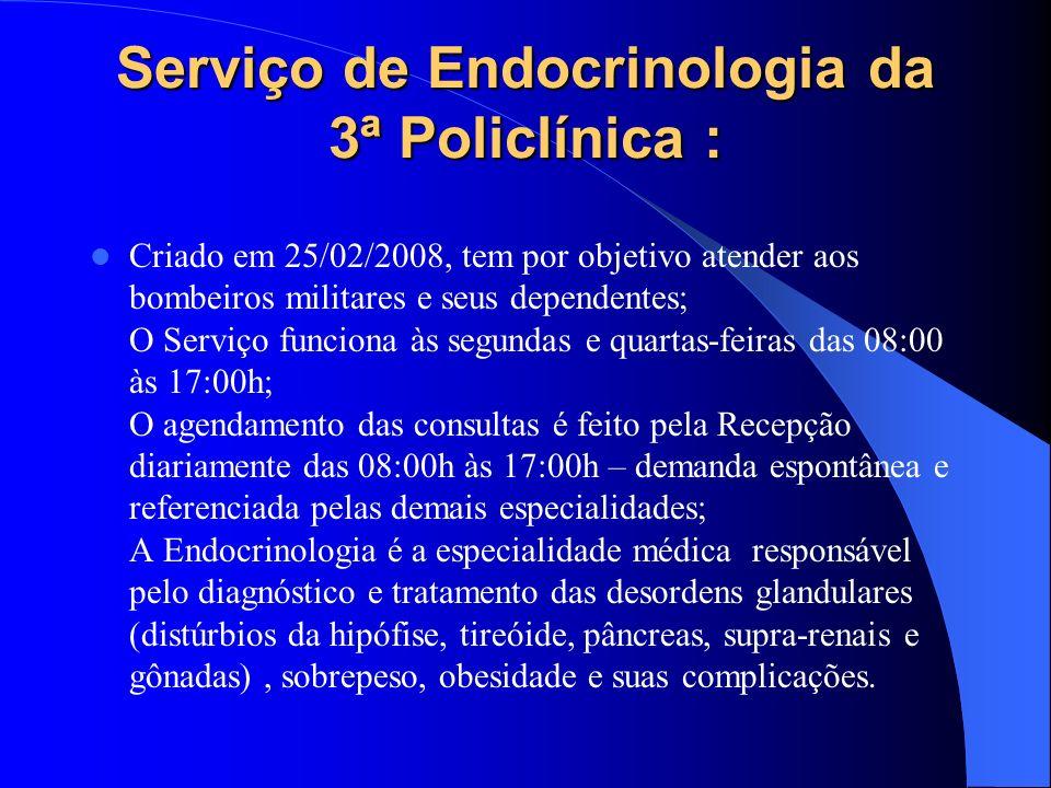 Serviço de Endocrinologia da 3ª Policlínica : Criado em 25/02/2008, tem por objetivo atender aos bombeiros militares e seus dependentes; O Serviço fun