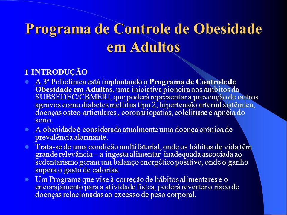 Programa de Controle de Obesidade em Adultos 1-INTRODUÇÃO A 3ª Policlínica está implantando o Programa de Controle de Obesidade em Adultos, uma inicia