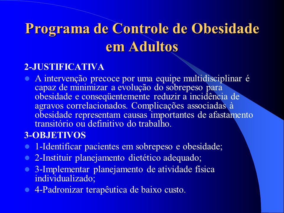 Programa de Controle de Obesidade em Adultos 2-JUSTIFICATIVA A intervenção precoce por uma equipe multidisciplinar é capaz de minimizar a evolução do