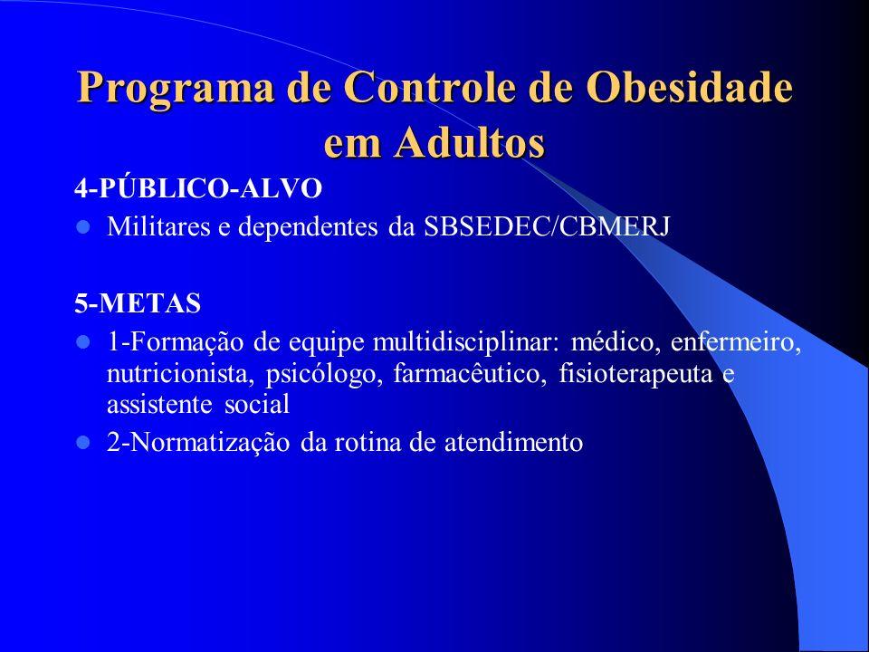 Programa de Controle de Obesidade em Adultos 4-PÚBLICO-ALVO Militares e dependentes da SBSEDEC/CBMERJ 5-METAS 1-Formação de equipe multidisciplinar: m