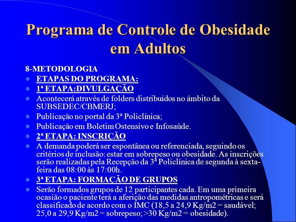 Programa de Controle de Obesidade em Adultos 8-METODOLOGIA ETAPAS DO PROGRAMA: 1ª ETAPA:DIVULGAÇÃO Acontecerá através de folders distribuídos no âmbit