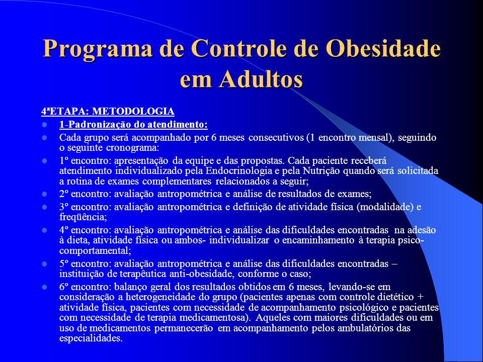 Programa de Controle de Obesidade em Adultos 4ªETAPA: METODOLOGIA 1-Padronização do atendimento: Cada grupo será acompanhado por 6 meses consecutivos