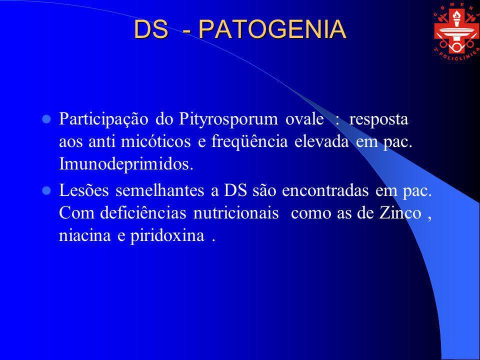 DS - PATOGENIA Participação do Pityrosporum ovale : resposta aos anti micóticos e freqüência elevada em pac. Imunodeprimidos. Lesões semelhantes a DS