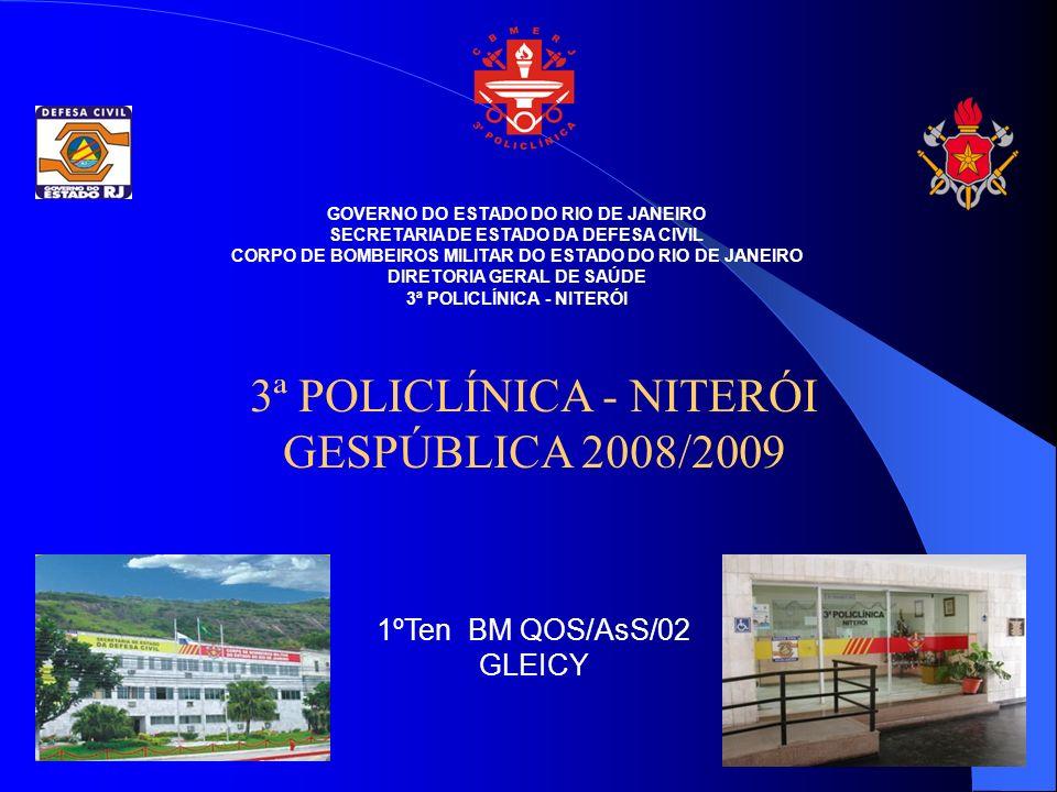 GOVERNO DO ESTADO DO RIO DE JANEIRO SECRETARIA DE ESTADO DA DEFESA CIVIL CORPO DE BOMBEIROS MILITAR DO ESTADO DO RIO DE JANEIRO DIRETORIA GERAL DE SAÚDE 3ª POLICLÍNICA - NITERÓI GESPÚBLICA 2008/2009 1ºTen BM QOS/AsS/02 GLEICY