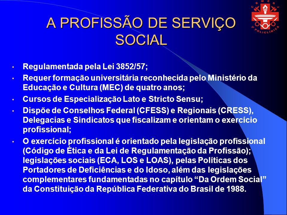 A PROFISSÃO DE SERVIÇO SOCIAL Regulamentada pela Lei 3852/57; Requer formação universitária reconhecida pelo Ministério da Educação e Cultura (MEC) de