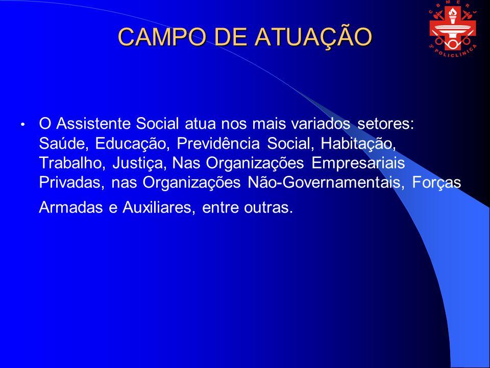 CAMPO DE ATUAÇÃO O Assistente Social atua nos mais variados setores: Saúde, Educação, Previdência Social, Habitação, Trabalho, Justiça, Nas Organizações Empresariais Privadas, nas Organizações Não-Governamentais, Forças Armadas e Auxiliares, entre outras.