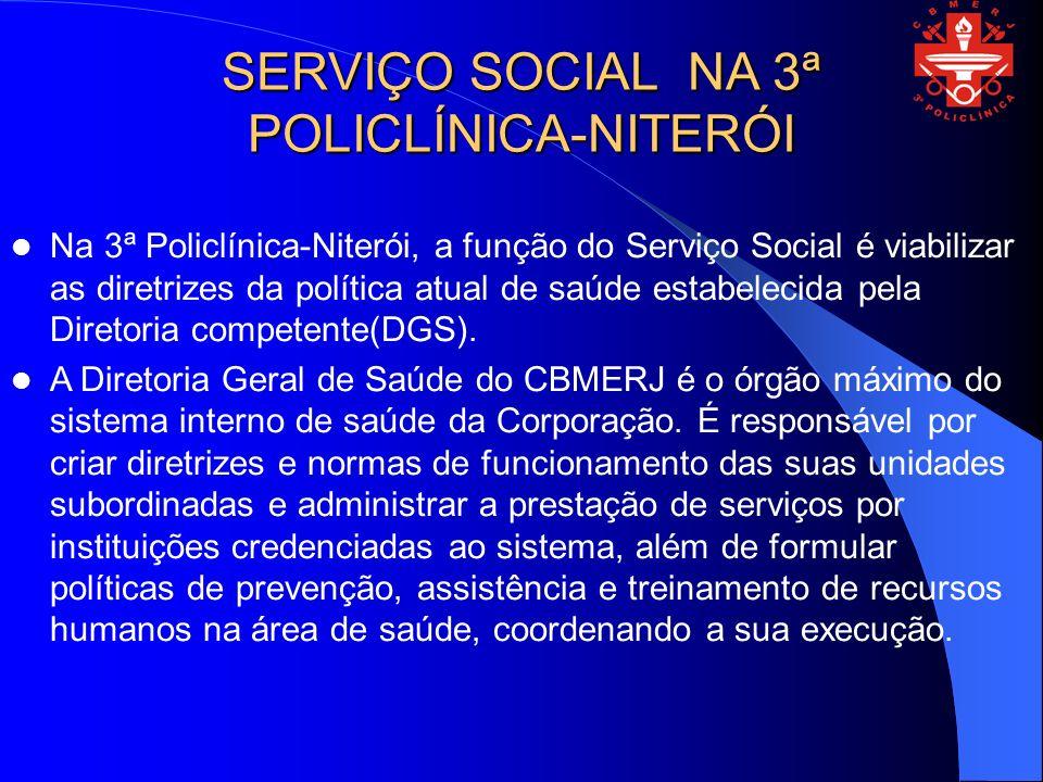 SERVIÇO SOCIAL NA 3ª POLICLÍNICA-NITERÓI Na 3ª Policlínica-Niterói, a função do Serviço Social é viabilizar as diretrizes da política atual de saúde estabelecida pela Diretoria competente(DGS).