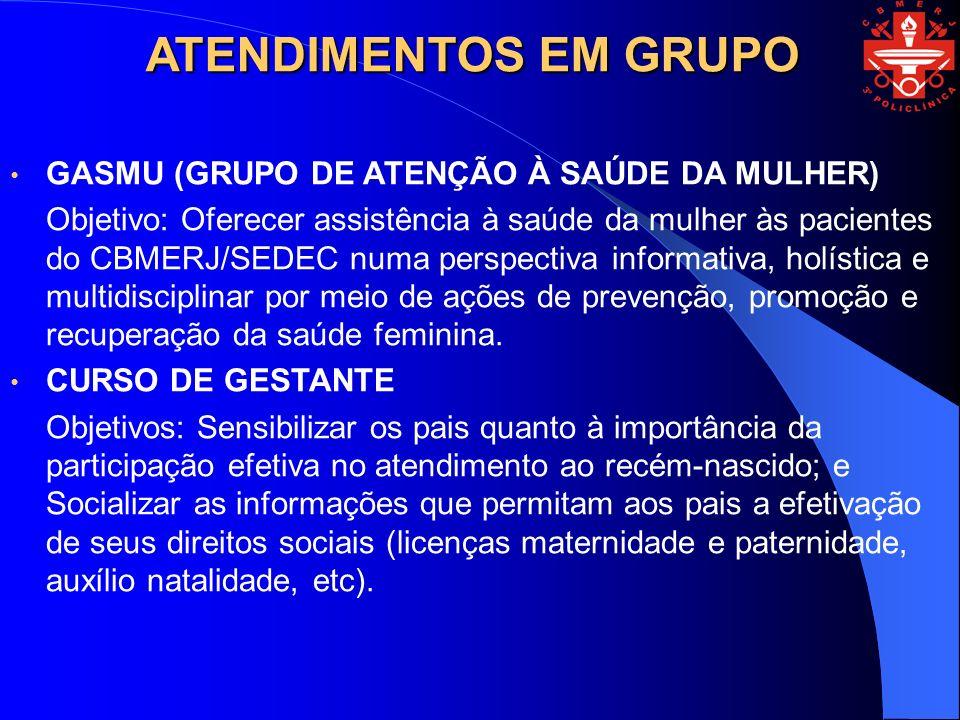 ATENDIMENTOS EM GRUPO GASMU (GRUPO DE ATENÇÃO À SAÚDE DA MULHER) Objetivo: Oferecer assistência à saúde da mulher às pacientes do CBMERJ/SEDEC numa pe