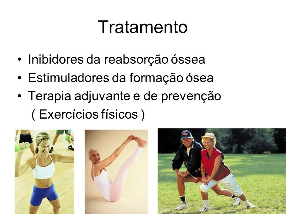 Tratamento Inibidores da reabsorção óssea Estimuladores da formação ósea Terapia adjuvante e de prevenção ( Exercícios físicos )