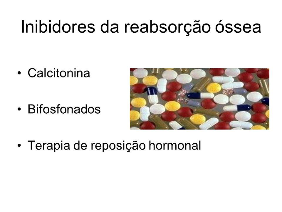 Inibidores da reabsorção óssea Calcitonina Bifosfonados Terapia de reposição hormonal