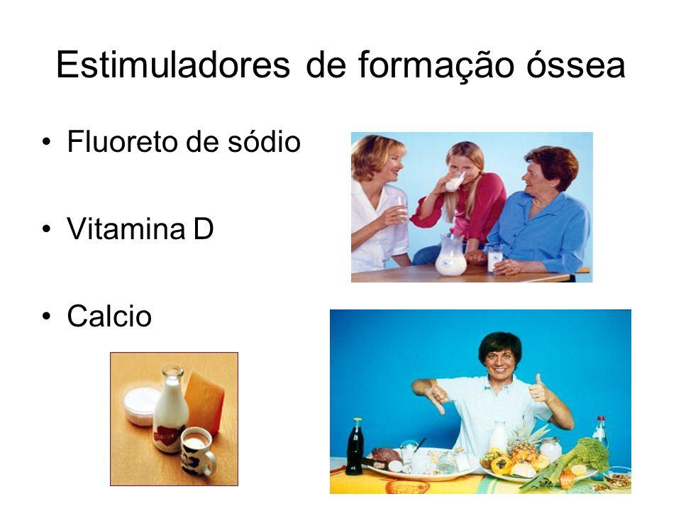 Estimuladores de formação óssea Fluoreto de sódio Vitamina D Calcio