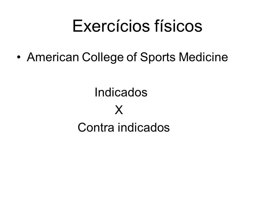 Exercícios físicos American College of Sports Medicine Indicados X Contra indicados