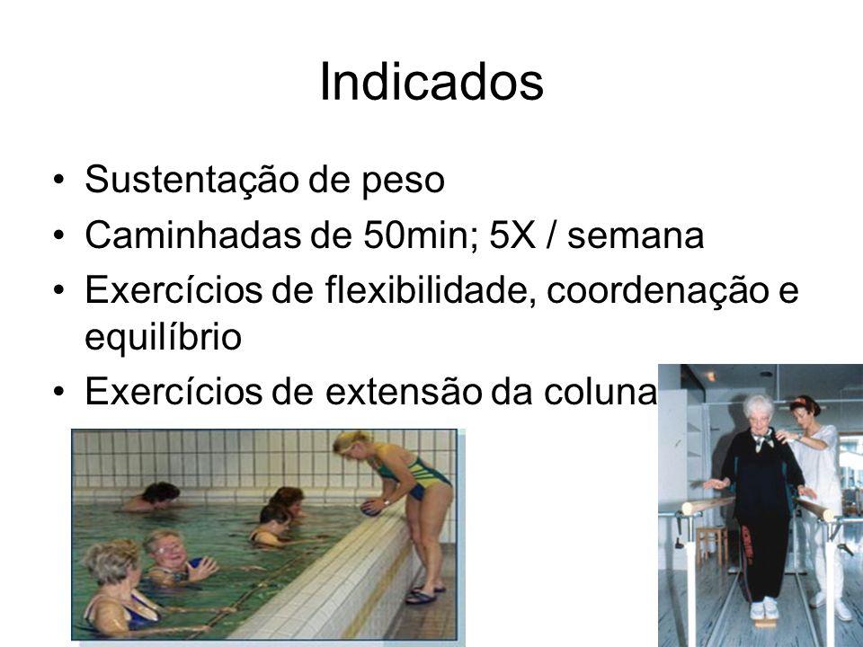 Indicados Sustentação de peso Caminhadas de 50min; 5X / semana Exercícios de flexibilidade, coordenação e equilíbrio Exercícios de extensão da coluna