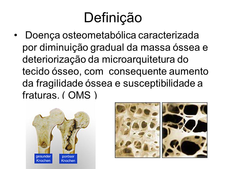 Definição Doença osteometabólica caracterizada por diminuição gradual da massa óssea e deteriorização da microarquitetura do tecido ósseo, com consequ
