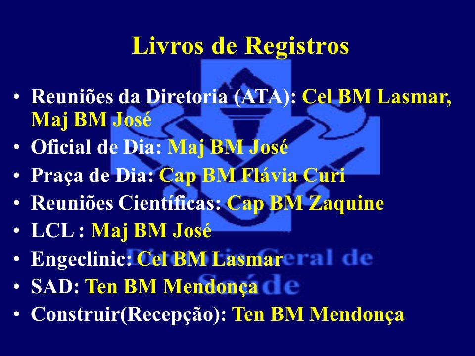 Livros de Registros Reuniões da Diretoria (ATA): Cel BM Lasmar, Maj BM José Oficial de Dia: Maj BM José Praça de Dia: Cap BM Flávia Curi Reuniões Cien