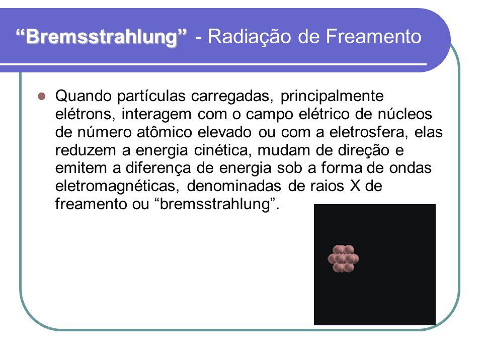 Bremsstrahlung Bremsstrahlung - Radiação de Freamento Quando partículas carregadas, principalmente elétrons, interagem com o campo elétrico de núcleos