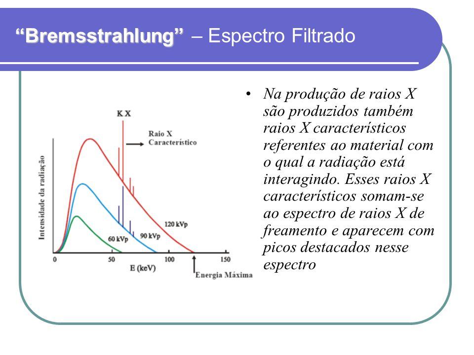 Bremsstrahlung Bremsstrahlung – Espectro Filtrado Na produção de raios X são produzidos também raios X característicos referentes ao material com o qu
