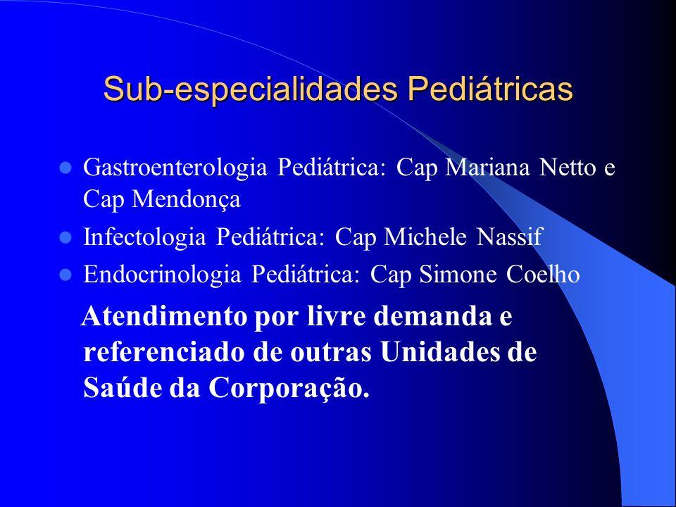 Sub-especialidades Pediátricas Gastroenterologia Pediátrica: Cap Mariana Netto e Cap Mendonça Infectologia Pediátrica: Cap Michele Nassif Endocrinolog