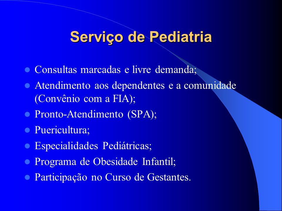 Serviço de Pediatria Consultas marcadas e livre demanda; Atendimento aos dependentes e a comunidade (Convênio com a FIA); Pronto-Atendimento (SPA); Puericultura; Especialidades Pediátricas; Programa de Obesidade Infantil; Participação no Curso de Gestantes.