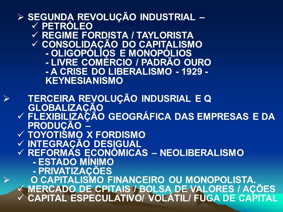 SEGUNDA REVOLUÇÃO INDUSTRIAL – PETRÓLEO REGIME FORDISTA / TAYLORISTA CONSOLIDAÇÃO DO CAPITALISMO - OLIGOPÓLIOS E MONOPÓLIOS - LIVRE COMÉRCIO / PADRÃO