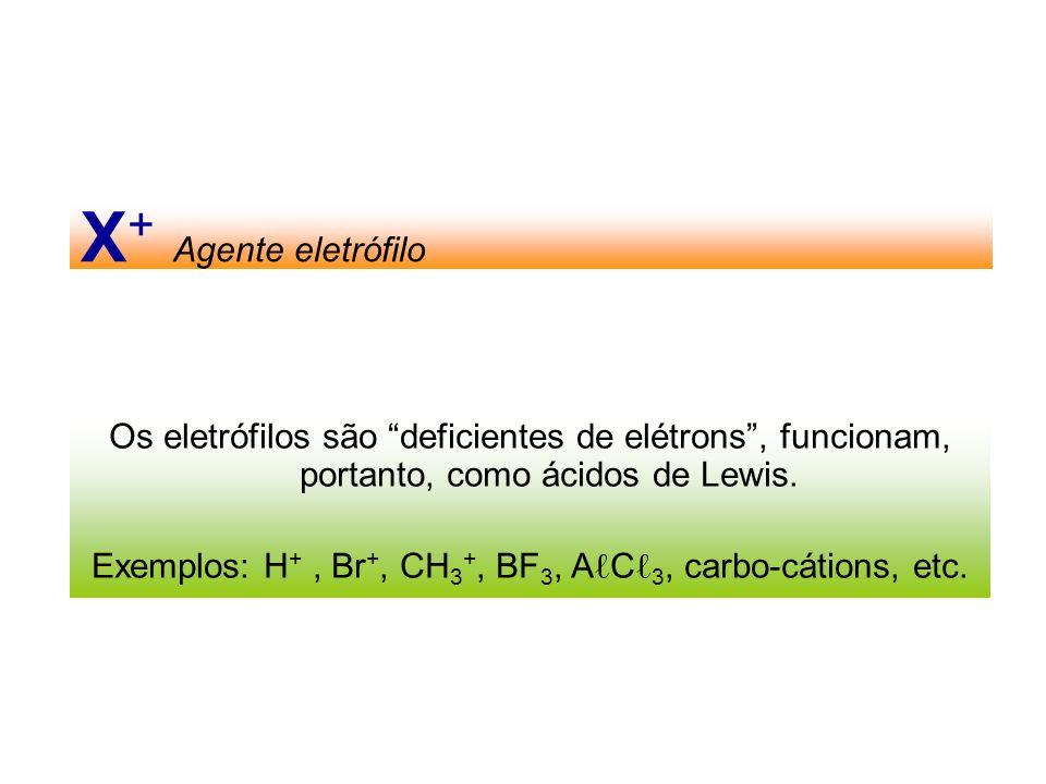 X + Agente eletrófilo Os eletrófilos são deficientes de elétrons, funcionam, portanto, como ácidos de Lewis. Exemplos: H +, Br +, CH 3 +, BF 3, A C 3,