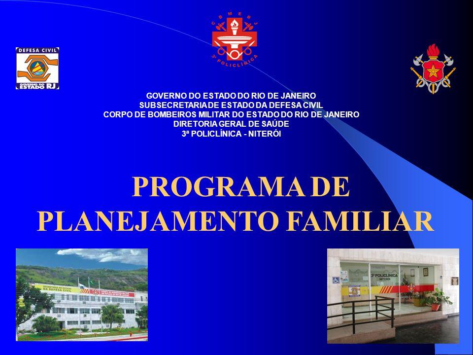 GOVERNO DO ESTADO DO RIO DE JANEIRO SUBSECRETARIA DE ESTADO DA DEFESA CIVIL CORPO DE BOMBEIROS MILITAR DO ESTADO DO RIO DE JANEIRO DIRETORIA GERAL DE SAÚDE 3ª POLICLÍNICA - NITERÓI PROGRAMA DE PLANEJAMENTO FAMILIAR