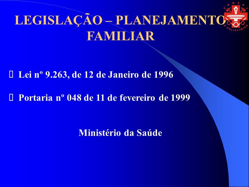 LEGISLAÇÃO – PLANEJAMENTO FAMILIAR Lei nº 9.263, de 12 de Janeiro de 1996 Portaria nº 048 de 11 de fevereiro de 1999 Ministério da Saúde