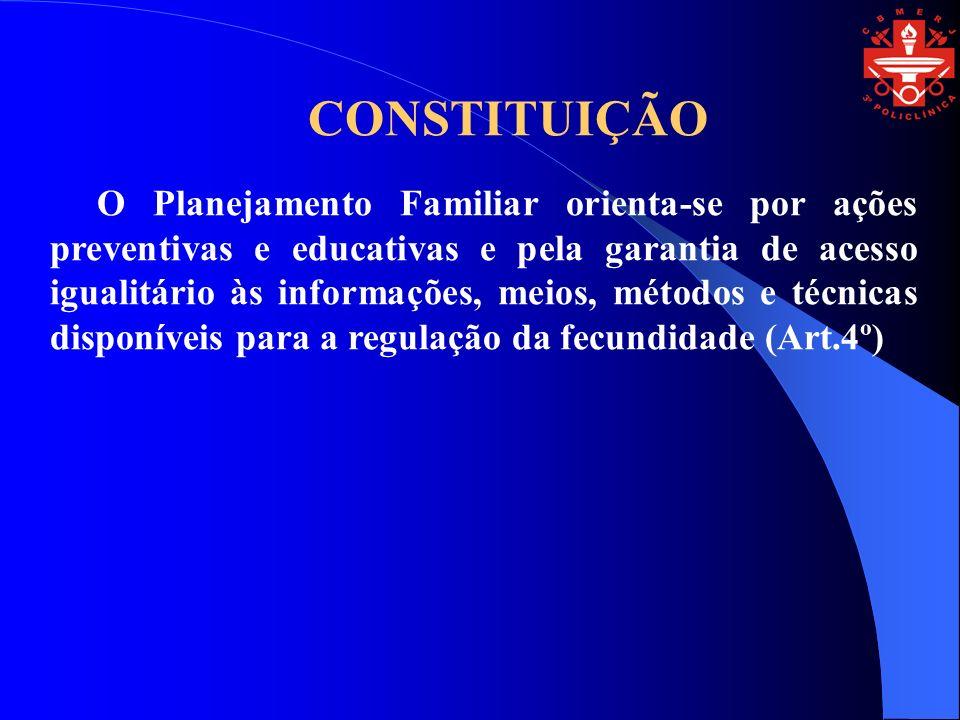 CONSTITUIÇÃO O Planejamento Familiar orienta-se por ações preventivas e educativas e pela garantia de acesso igualitário às informações, meios, métodos e técnicas disponíveis para a regulação da fecundidade (Art.4º)