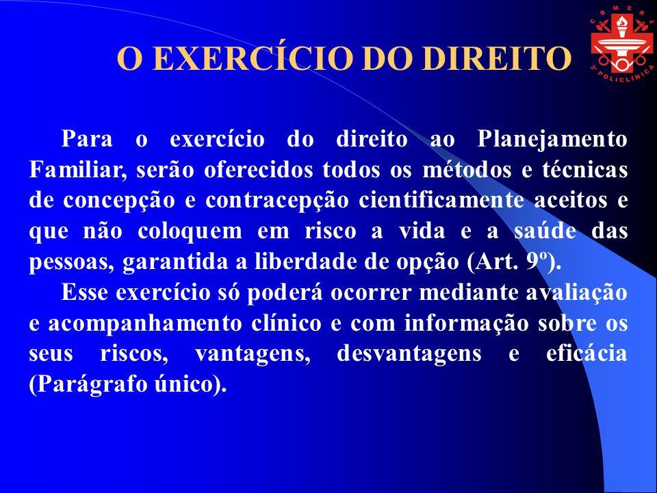 O EXERCÍCIO DO DIREITO Para o exercício do direito ao Planejamento Familiar, serão oferecidos todos os métodos e técnicas de concepção e contracepção