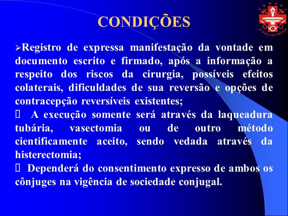 CONDIÇÕES Registro de expressa manifestação da vontade em documento escrito e firmado, após a informação a respeito dos riscos da cirurgia, possíveis