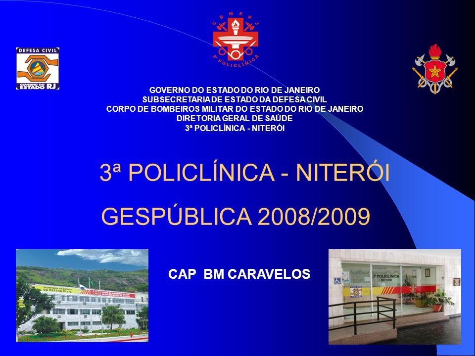 GOVERNO DO ESTADO DO RIO DE JANEIRO SUBSECRETARIA DE ESTADO DA DEFESA CIVIL CORPO DE BOMBEIROS MILITAR DO ESTADO DO RIO DE JANEIRO DIRETORIA GERAL DE SAÚDE 3ª POLICLÍNICA - NITERÓI GESPÚBLICA 2008/2009 CAP BM CARAVELOS