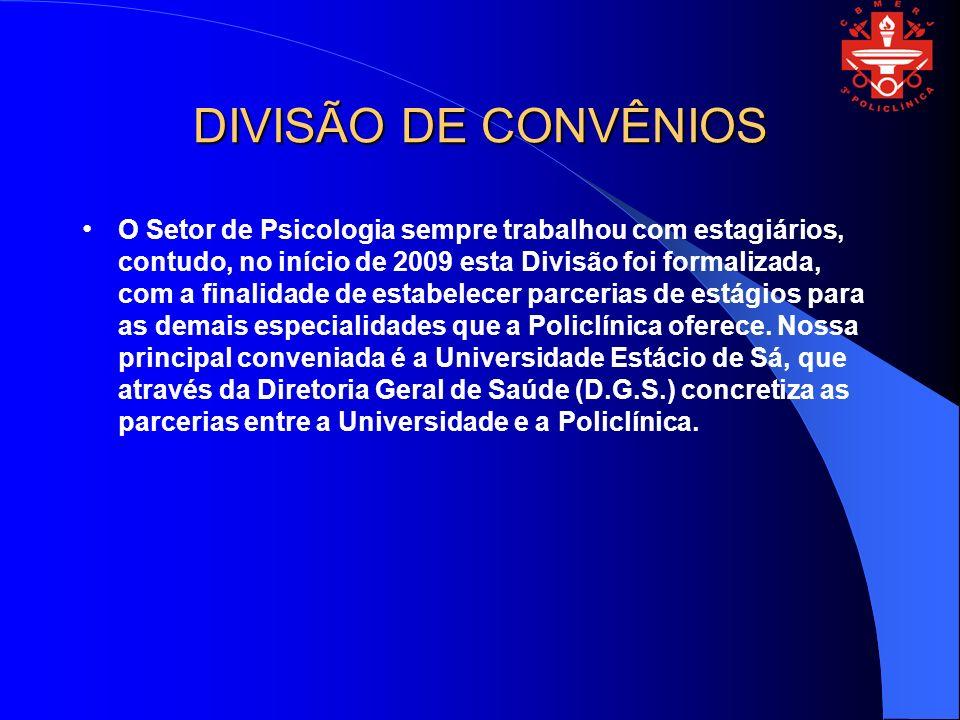DIVISÃO DE CONVÊNIOS O Setor de Psicologia sempre trabalhou com estagiários, contudo, no início de 2009 esta Divisão foi formalizada, com a finalidade de estabelecer parcerias de estágios para as demais especialidades que a Policlínica oferece.