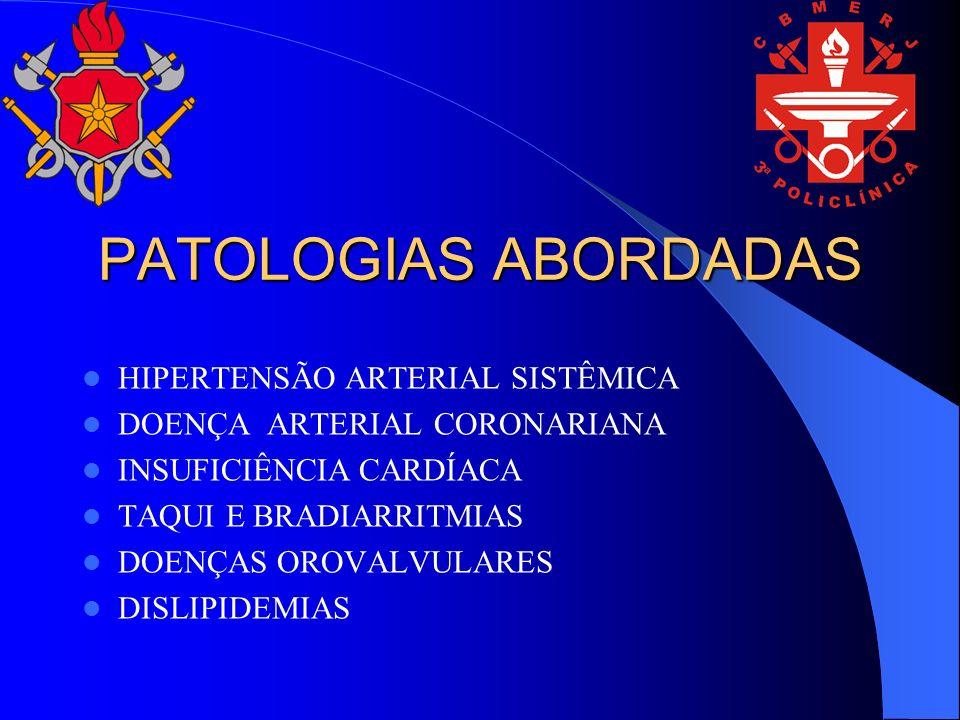 PATOLOGIAS ABORDADAS HIPERTENSÃO ARTERIAL SISTÊMICA DOENÇA ARTERIAL CORONARIANA INSUFICIÊNCIA CARDÍACA TAQUI E BRADIARRITMIAS DOENÇAS OROVALVULARES DI