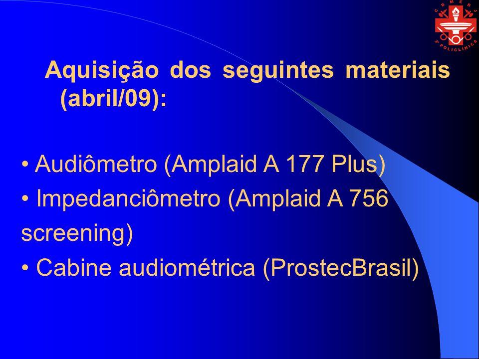 Aquisição dos seguintes materiais (abril/09): Audiômetro (Amplaid A 177 Plus) Impedanciômetro (Amplaid A 756 screening) Cabine audiométrica (ProstecBr
