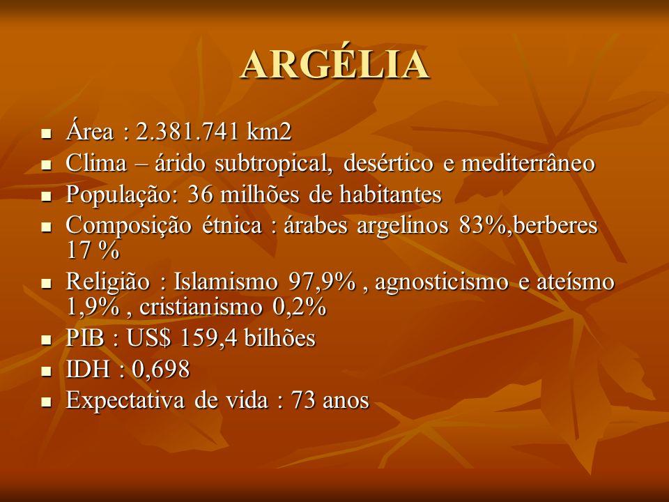 ARGÉLIA Área : 2.381.741 km2 Área : 2.381.741 km2 Clima – árido subtropical, desértico e mediterrâneo Clima – árido subtropical, desértico e mediterrâ