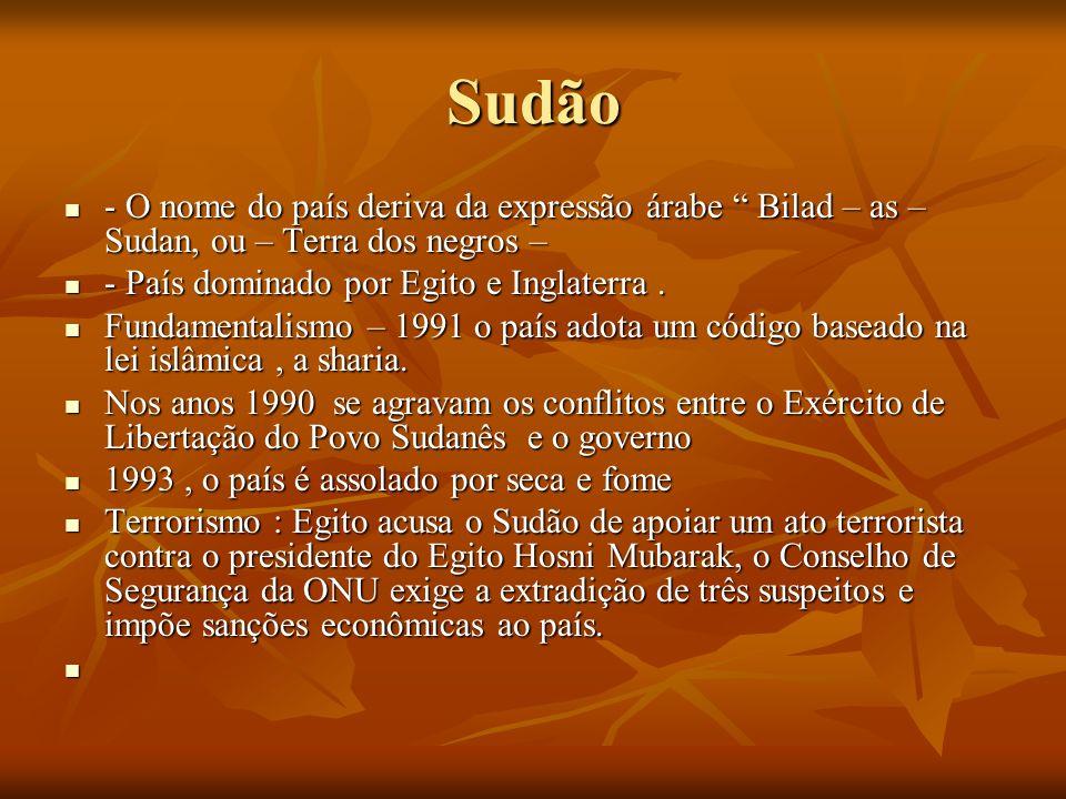 Sudão - O nome do país deriva da expressão árabe Bilad – as – Sudan, ou – Terra dos negros – - O nome do país deriva da expressão árabe Bilad – as – S
