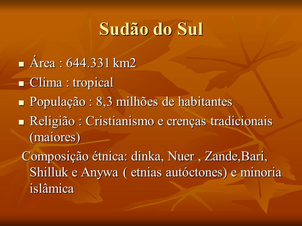 Sudão do Sul Área : 644.331 km2 Área : 644.331 km2 Clima : tropical Clima : tropical População : 8,3 milhões de habitantes População : 8,3 milhões de