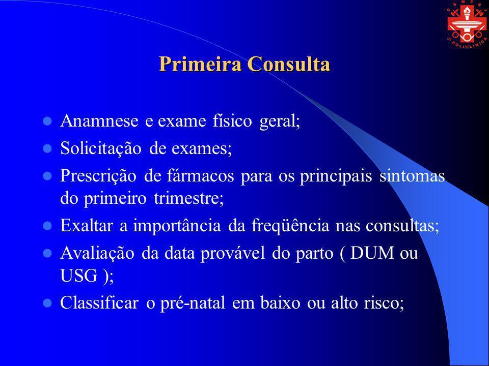 Primeira Consulta Anamnese e exame físico geral; Solicitação de exames; Prescrição de fármacos para os principais sintomas do primeiro trimestre; Exal