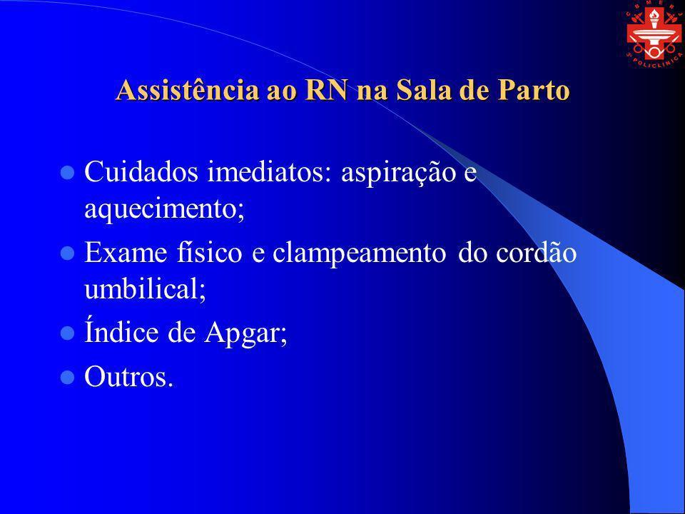 Assistência ao RN na Sala de Parto Cuidados imediatos: aspiração e aquecimento; Exame físico e clampeamento do cordão umbilical; Índice de Apgar; Outr