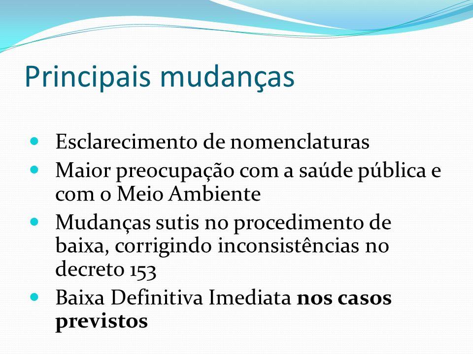 Principais mudanças Esclarecimento de nomenclaturas Maior preocupação com a saúde pública e com o Meio Ambiente Mudanças sutis no procedimento de baix