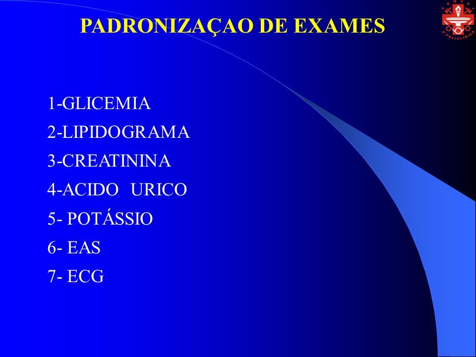 PADRONIZAÇAO DE EXAMES 1-GLICEMIA 2-LIPIDOGRAMA 3-CREATININA 4-ACIDO URICO 5- POTÁSSIO 6- EAS 7- ECG