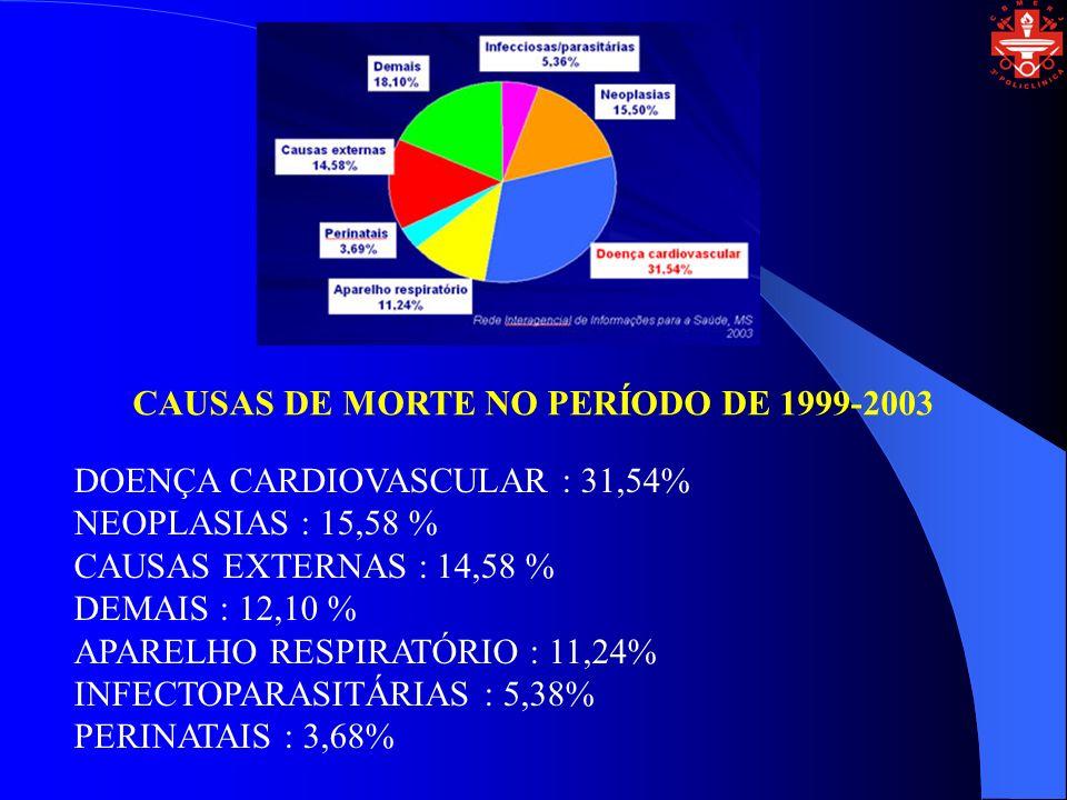 CAUSAS DE MORTE NO PERÍODO DE 1999-2003 DOENÇA CARDIOVASCULAR : 31,54% NEOPLASIAS : 15,58 % CAUSAS EXTERNAS : 14,58 % DEMAIS : 12,10 % APARELHO RESPIR