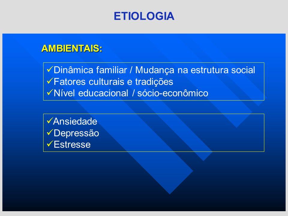 AMBIENTAIS: ETIOLOGIA Dinâmica familiar / Mudança na estrutura social Fatores culturais e tradições Nível educacional / sócio-econômico Ansiedade Depr