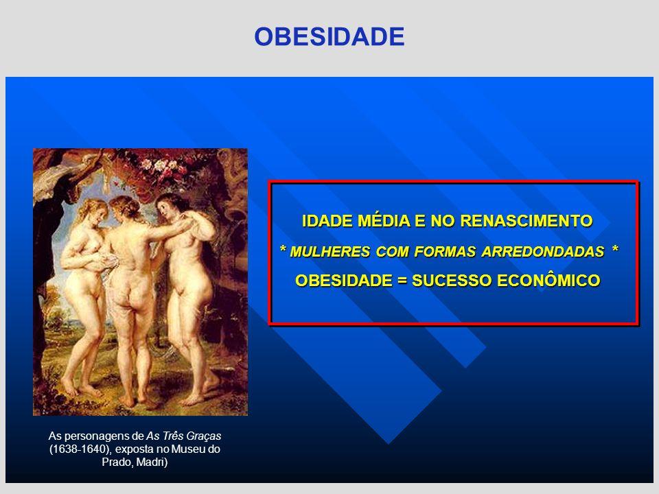 IDADE MÉDIA E NO RENASCIMENTO * MULHERES COM FORMAS ARREDONDADAS * OBESIDADE = SUCESSO ECONÔMICO As personagens de As Três Graças (1638-1640), exposta
