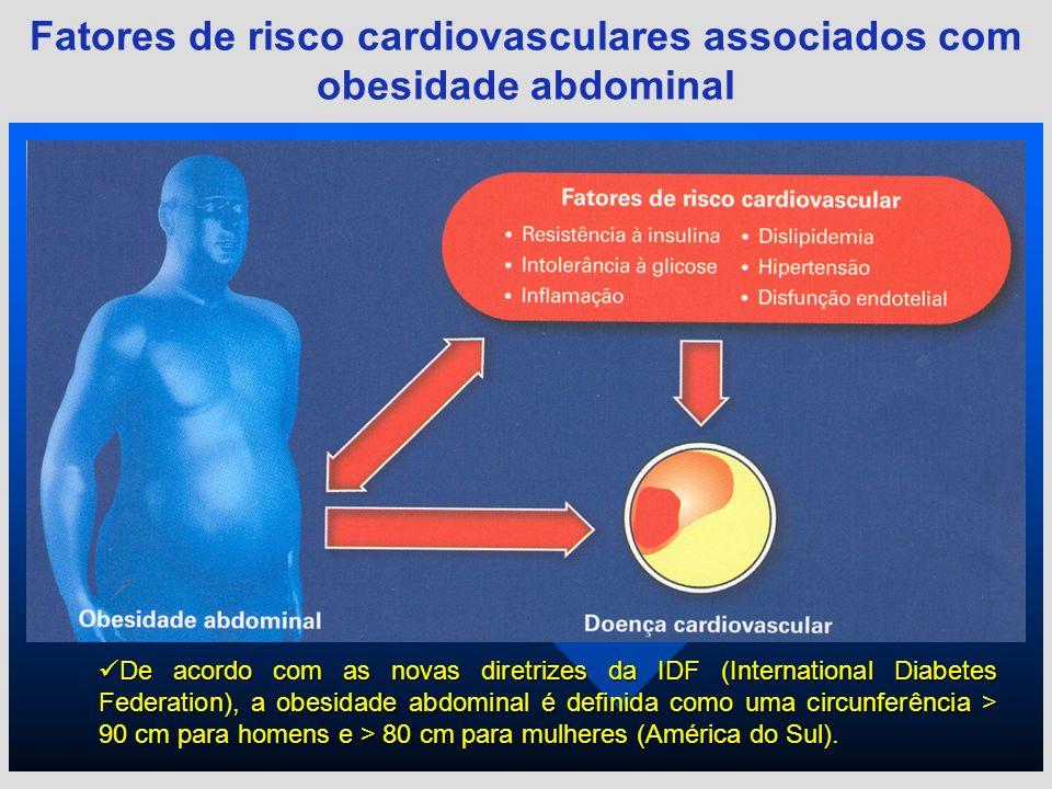 Fatores de risco cardiovasculares associados com obesidade abdominal De acordo com as novas diretrizes da IDF (International Diabetes Federation), a o