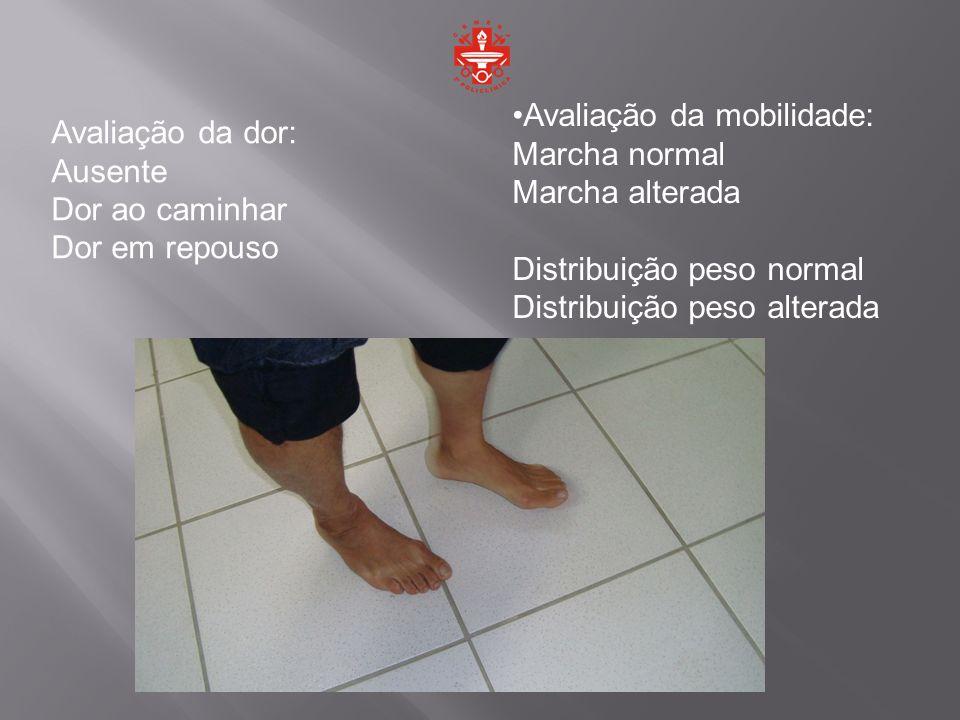 Avaliação da dor: Ausente Dor ao caminhar Dor em repouso Avaliação da mobilidade: Marcha normal Marcha alterada Distribuição peso normal Distribuição