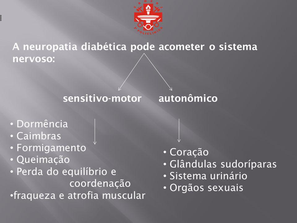 A neuropatia diabética pode acometer o sistema nervoso: sensitivo-motorautonômico Dormência Caimbras Formigamento Queimação Perda do equilíbrio e coor