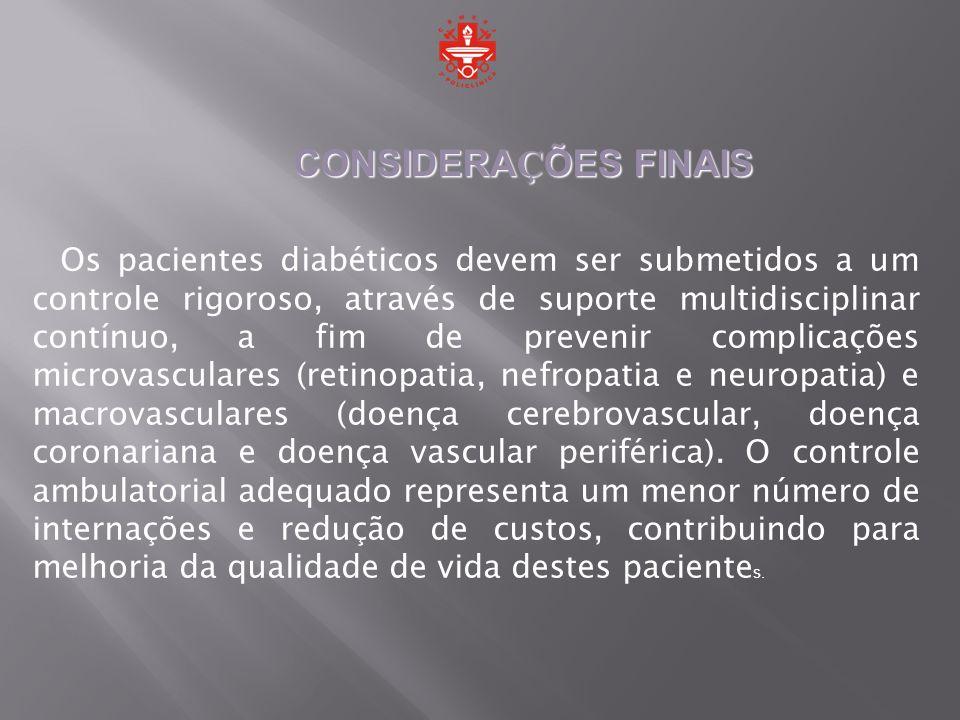 Os pacientes diabéticos devem ser submetidos a um controle rigoroso, através de suporte multidisciplinar contínuo, a fim de prevenir complicações micr