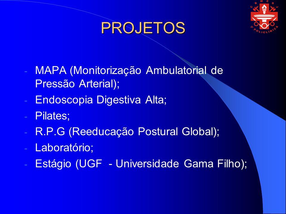 PROJETOS - MAPA (Monitorização Ambulatorial de Pressão Arterial); - Endoscopia Digestiva Alta; - Pilates; - R.P.G (Reeducação Postural Global); - Labo